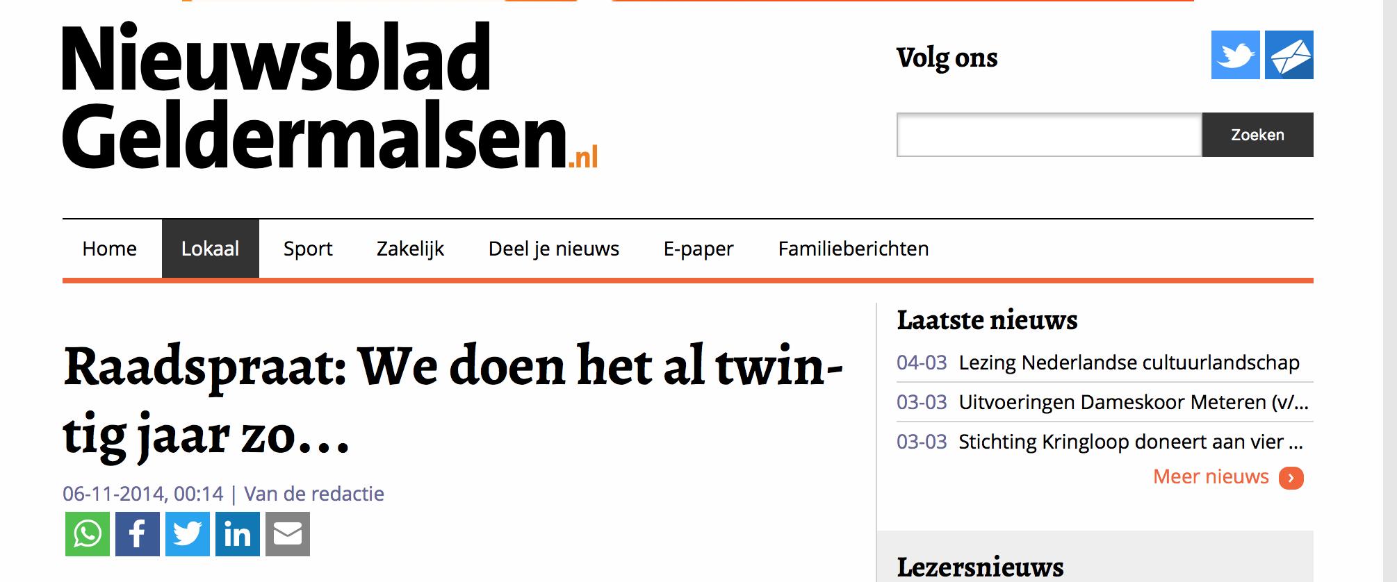 Raadspraat in Nieuwsblad Geldermalsen